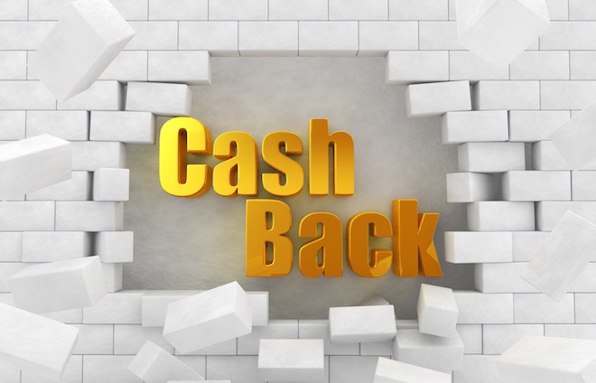 """The text of the golden """"CashBack"""" in the destroyed wall"""